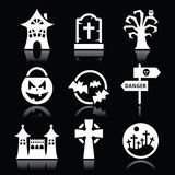 Halloween  white icons set on black Stock Photography