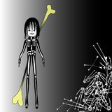 Halloween wicked boy character. Wiht bone weapon, evil black child idea for a poster Stock Photography