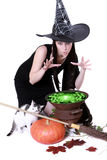 Halloween witch. Stirring in green poison soup in her cauldron Stock Photos