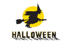 Halloween Witch. Silhouette of Flying Witch with Moon Behind stock illustration
