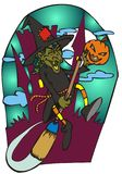 Halloween witch. Vector Image showing a witch flying with her magic broom. Ideal for your halloween works royalty free illustration