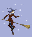 Halloween witch. On a broomstick  ready for a night flight is going to steal the moon Royalty Free Stock Photos