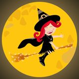 Halloween witch moon kid Royalty Free Stock Images