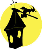 Halloween witch. Flying on the moon Royalty Free Stock Image