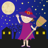 Halloween witch. Illustration of a nice girl dressed up as witch in the night of Halloween. Vector Royalty Free Stock Photo