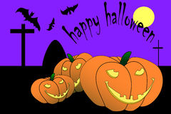 Halloween witch. Happy Halloween and pumpkins bats Royalty Free Stock Images