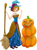 Halloween witch. With pumpkin. clippung path included Royalty Free Stock Photo
