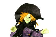 Halloween witch. Green halloween witch with black cat Stock Images