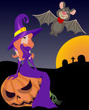 Halloween witch. Bat and pumpkin, vector illustration Stock Photography