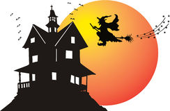 Halloween witch. Illustration of an cute black witch Stock Images
