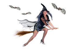 Halloween witch. Young attractive Halloween witch flying on broom. Studio, white background Royalty Free Stock Image