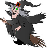 Halloween Witch. An illustration for Halloween of a witch flying on a broomstick, isolated on a white background Stock Image