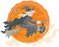 Halloween witch. The All Hallows' Eve night, a sorceress in black flying on her broom Royalty Free Stock Images