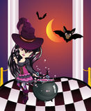 Halloween Witch on Balcony. Cartoon witch girl with bats on balcony with checkered floor Stock Image