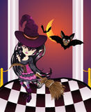 Halloween Witch on Balcony. Cartoon witch girl with bats on balcony with checkered floor Royalty Free Stock Photography