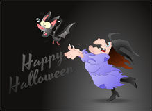 Halloween Witch and Bat Stock Images