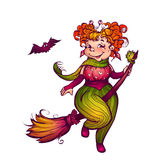 Halloween witch with bat flying to party. Vector Stock Photos