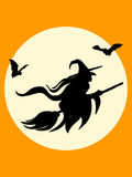 Halloween witch and bats silhouette poster Royalty Free Stock Photos