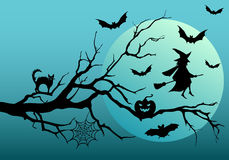 Halloween witch and bats, vector Royalty Free Stock Photo