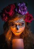 Halloween witch. Beautiful woman wearing santa muerte mask portr Royalty Free Stock Photo