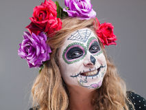 Halloween witch. Beautiful woman wearing santa muerte mask portr Royalty Free Stock Image