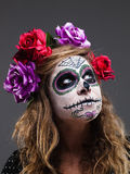 Halloween witch. Beautiful woman wearing santa muerte mask portr Royalty Free Stock Images