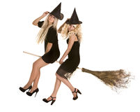 Halloween witch  in black dress and hat on broom. Stock Photos
