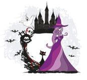 Halloween witch,bones, bats, skulls Royalty Free Stock Images