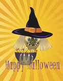 Halloween Witch with Bowl of Candy Illustration Stock Photos