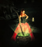 Halloween witch brewing a magic potion. In an ancient pot and pours it sparkles Royalty Free Stock Photography