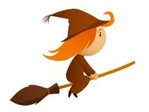 Halloween witch on the broom Royalty Free Stock Image