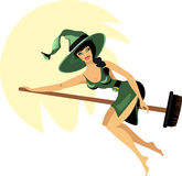 Halloween witch on a broom Stock Photography