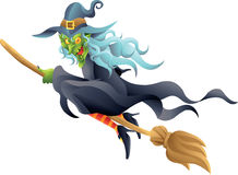 Halloween witch on broom Stock Photo