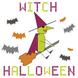 Halloween witch on the broom Stock Images