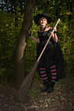 Halloween Witch with Broomstick Royalty Free Stock Photography