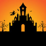 Halloween witch castle silhouette background Royalty Free Stock Image