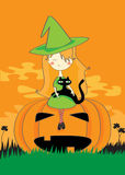 Halloween witch with cat. Halloween The witch girl with a cat sits on a pumpkin Stock Images