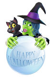 Halloween Witch cat and crystal ball Stock Images