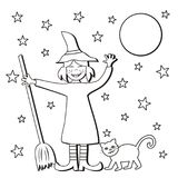 Halloween, witch and cat Royalty Free Stock Images