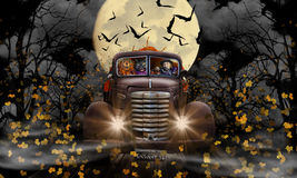 Halloween Witch Cat and Pumpkin. A Halloween witch, cat and pumpkin driving an old GMC truck filled with pumpkins. Truck is driving through falling leaves and royalty free stock images
