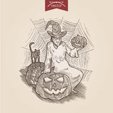 Halloween witch cat pumpkin handdrawn engraving style template Stock Images