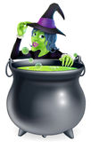 Halloween Witch and Cauldron Stock Photos