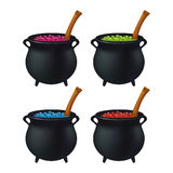Halloween Witch cauldron with colorful potion, bubbling witches brew. Realistic Vector illustration isolated on white background. Stock Image