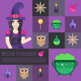 Halloween witch with cauldron icons and buttons set Stock Photography