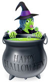 Halloween Witch and Cauldron Royalty Free Stock Photography