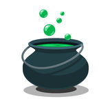 Halloween witch cauldron with potion and bubbles  on white background. Black pot with magic brew in flat style Royalty Free Stock Photos