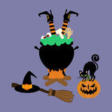 Halloween witch cauldron Royalty Free Stock Image