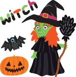 Halloween witch character with pumpkin and bat. Royalty Free Stock Image