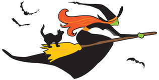 Halloween witch. Colorful vector illustration of a witch riding a broomstick Stock Photo