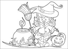 Halloween witch coloring vector illustration